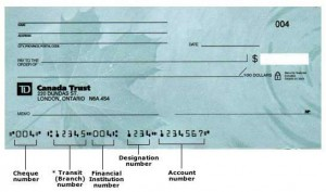 canadian routing transit number on cheque